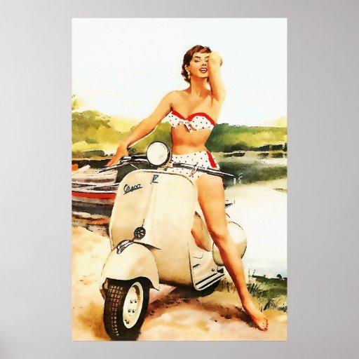 Bikini Scooter Girl Print
