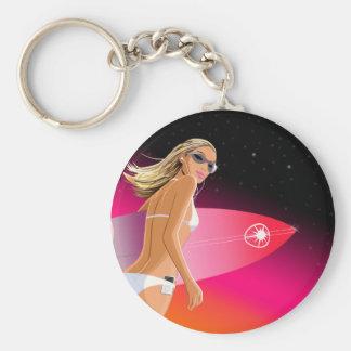 Bikini_Surfboard Basic Round Button Key Ring