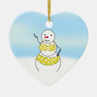 Bikini Time Snowmen Bikini Girl Ceramic Heart Decoration
