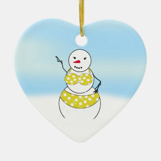 Bikini Time Snowmen Bikini Girl Christmas Ornament