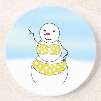 Bikini Time Snowmen Bikini Girl Coasters