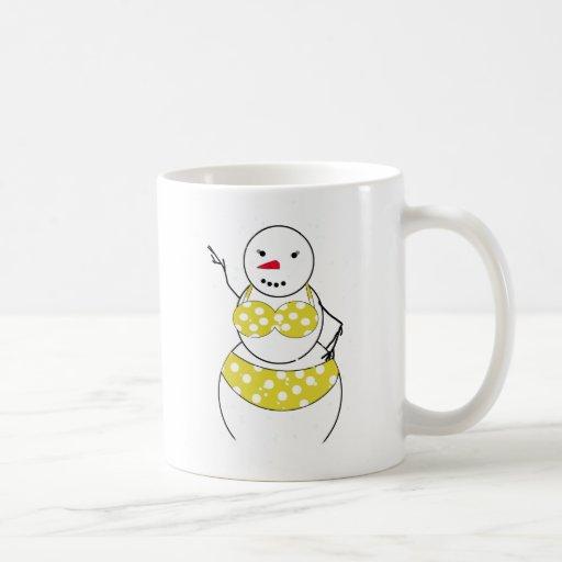 Bikini Time Snowmen Bikini Girl Mugs