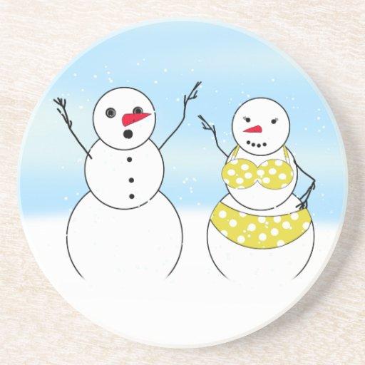 Bikini Time Snowmen Coasters