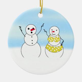 Bikini Time Snowmen Round Ceramic Decoration