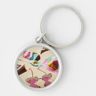 Bikini Top And Heart Shape Sunglasses On Beach Silver-Colored Round Key Ring