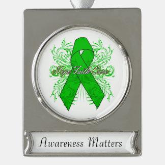 Bile Duct Cancer Cancer Flourish Hope Faith Cure Silver Plated Banner Ornament