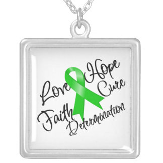 Bile Duct Cancer Love Hope Determination Square Pendant Necklace