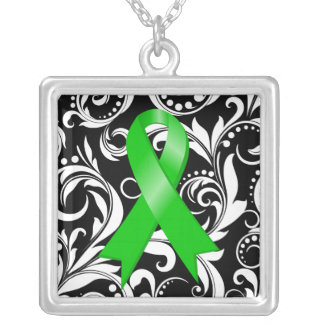 Bile Duct Cancer Ribbon Deco Floral Noir Square Pendant Necklace