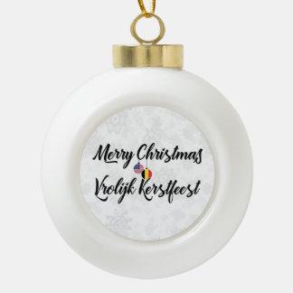 Bilingual Belgian American Holiday Ornament