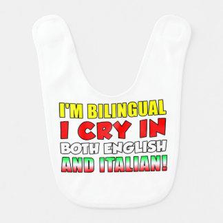 Bilingual Cry Italian and English Bib