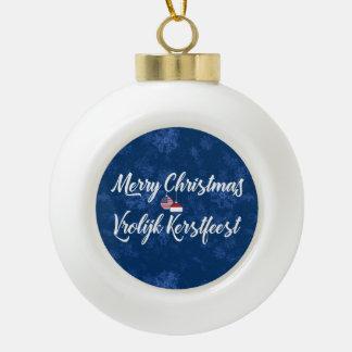 Bilingual Dutch American Holiday Ornament