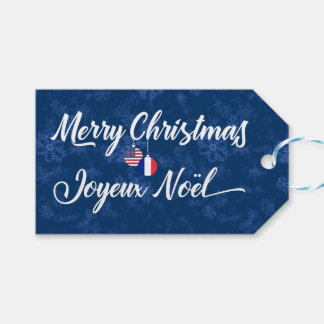 Bilingual French American Holiday Gift Tags