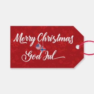 Bilingual Norwegian American Holiday Gift Tags