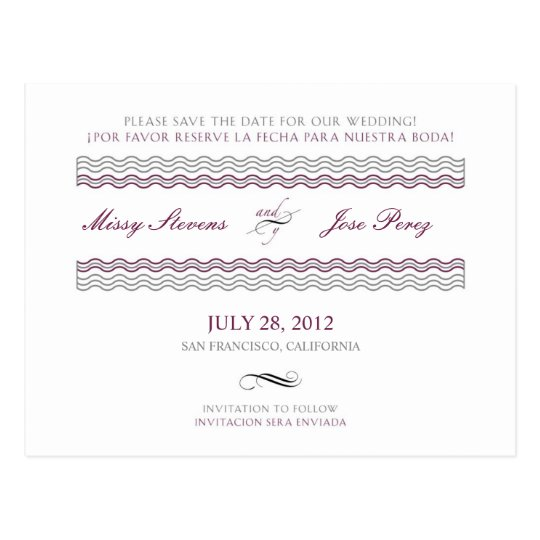 Bilingual Wedding Save The Date Postcard