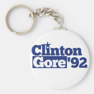 Bill Clinton Al Gore 1992 retro politics Basic Round Button Key Ring