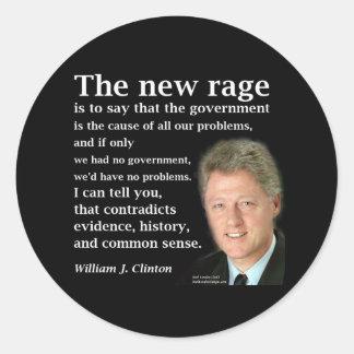 Bill Clinton No Government Quote Round Sticker