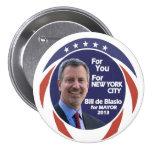 Bill de Blasio NYC Mayor 2012 Buttons
