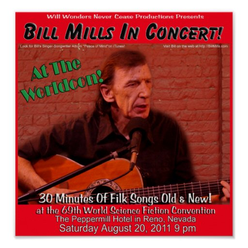 Bill Mills in Concert at Worldcon Poster 1