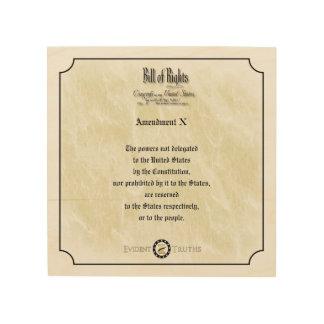 Bill of Rights - 10th Amendment rustic wall plaque Wood Canvas