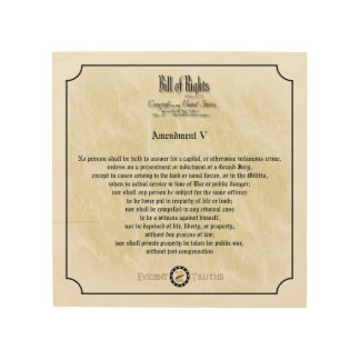 Bill of Rights - 5th Amendement rustic wall plaque Wood Canvas