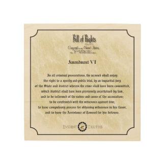 Bill of Rights - 6th Amendment rustic wall plaque Wood Canvas