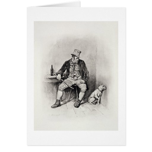 Bill Sykes and his dog, from 'Charles Dickens: A G Greeting Card