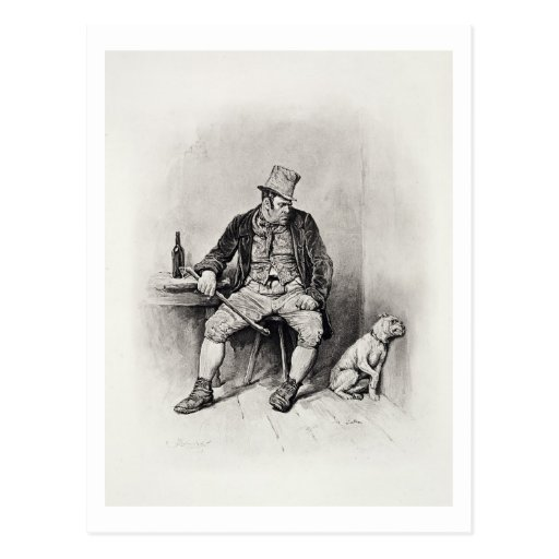 Bill Sykes and his dog, from 'Charles Dickens: A G Post Cards