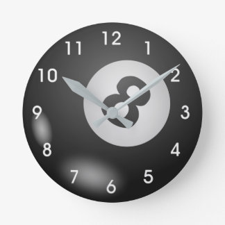 billards 8 ball round clock