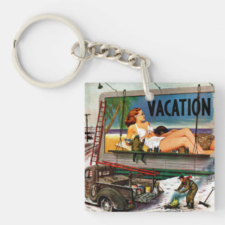 Billboard Painters in Winter by Stevan Dohanos Double-Sided Square Acrylic Key Ring