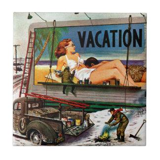 Billboard Painters in Winter by Stevan Dohanos Tile