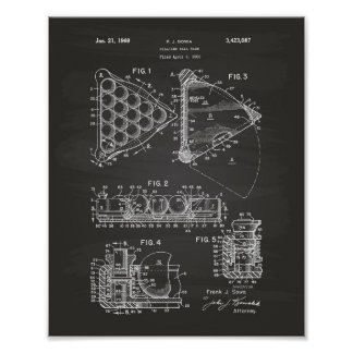 Billiard Ball Rack 1969 Patent Art - Chalkboard Poster