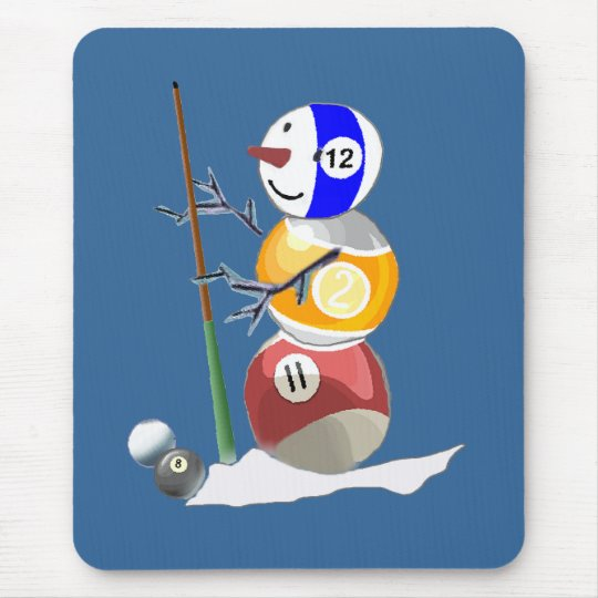 Billiard Ball Snowman Mouse Mat