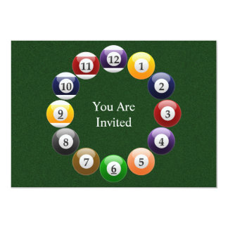 Billiard Balls Shiny Colorful Pool Snooker Sports Card