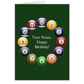 Billiard Balls Shiny Colorful Pool Snooker Sports Greeting Card