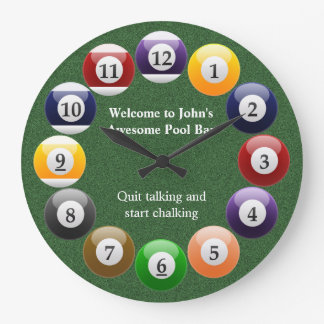 Billiard Balls Shiny Colorful Pool Snooker Sports Large Clock