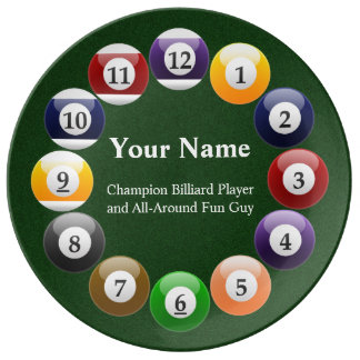 Billiard Balls Shiny Colorful Pool Snooker Sports Porcelain Plates