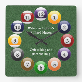 Billiard Balls Shiny Colorful Pool Snooker Sports Square Wall Clock