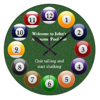 Billiard Balls Shiny Colorful Pool Snooker Sports Wall Clocks