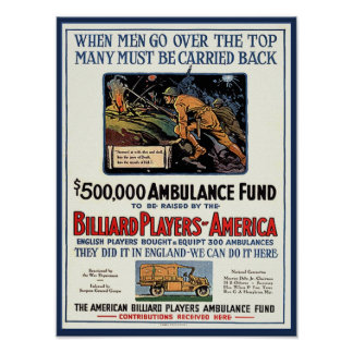 Billiard Players Ambulance Fund Vintage Poster