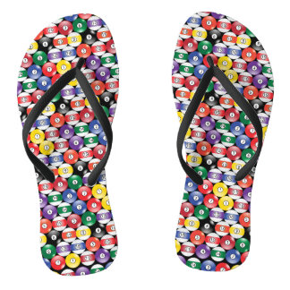 Billiard Pool Ball Pattern Flip Flops