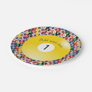 Billiard Pool Balls Solid Number One Paper Plate