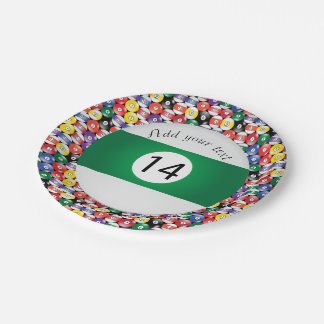 Billiard Pool Balls Stripe Number Fourteen Paper Plate