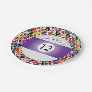 Billiard Pool Balls Stripe Number Twelve Paper Plate
