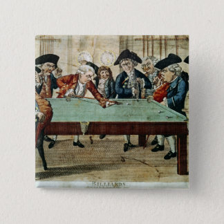 Billiards, 18th century etching by R.Sayer 15 Cm Square Badge