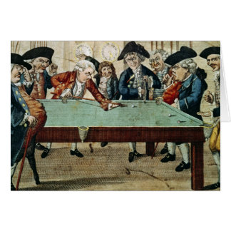 Billiards, 18th century etching by R.Sayer Card