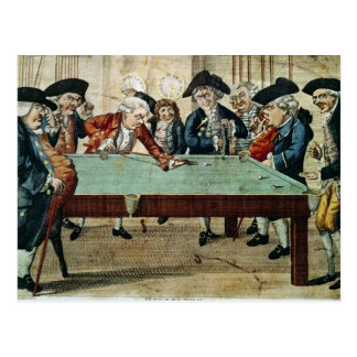 Billiards, 18th century etching by R.Sayer Postcard