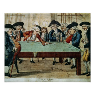 Billiards, 18th century etching by R.Sayer Poster
