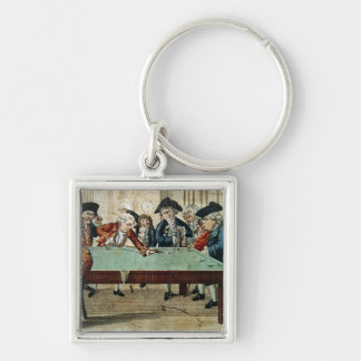 Billiards, 18th century etching by R.Sayer Silver-Colored Square Key Ring