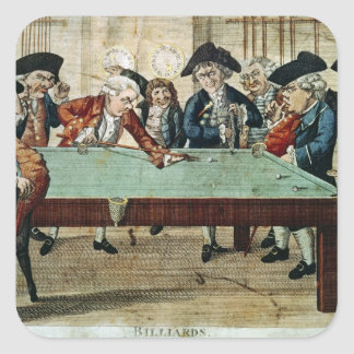 Billiards, 18th century etching by R.Sayer Square Sticker