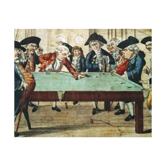 Billiards, 18th century etching by R.Sayer Stretched Canvas Prints